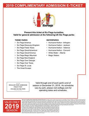 Six Flags Single Day Adult E-Ticket Any Park Listed