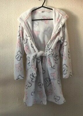 Girls Dressing Gown Robe Ivory  Pink 12 Years