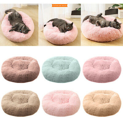 Large Luxury Shag Warm Fluffy Pet Bed Dog Puppy Kitten Fur Donut Cushion Mat HOT