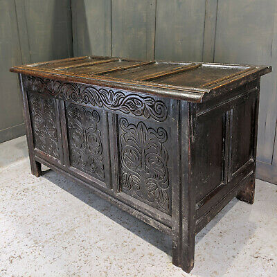 Antique 18th Century Oak Coffer with Carved Foliate Front Panels