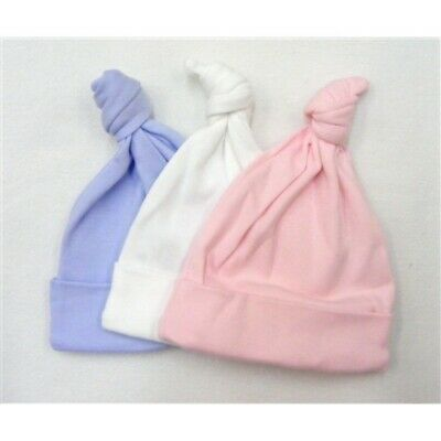 Premature Baby Boys Girls UK Made  Soft Cotton Knotted Hat *Blue *White *Pink*