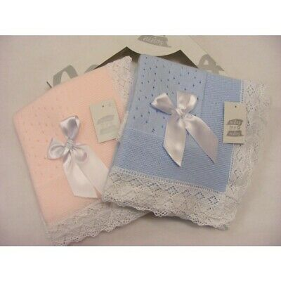 Stunning Baby Boys Girls Boxed Spanish Romany Lace & Bow Knitted Shawl Blanket