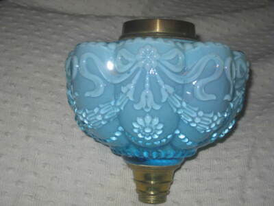 Beautiful  Antique Raised Moulded Floral Ribbons Turquoise Glass Oil Font