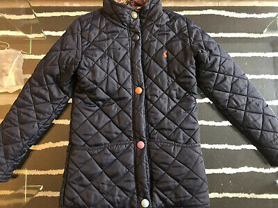 Girls Little Joules Navy Blue Quilted Popper JacketAge 9-10 years