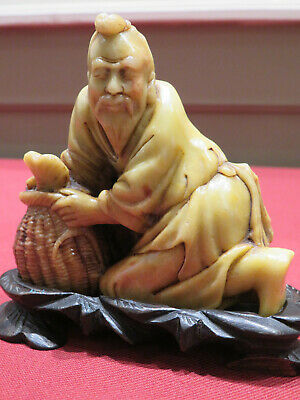 19Th Century Signed Soapstone Carving Fisherman