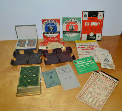 Vintage Card Game Lot Contract Bridge Books Scoring Pads Bakelite Card Holders