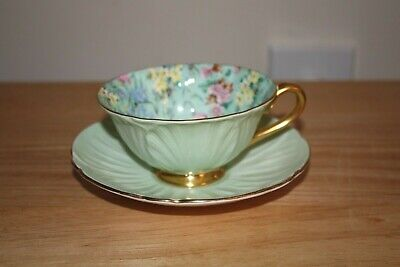 Shelley Fine Bone China England Pale Green Oleander Chintz Tea Cup & Saucer