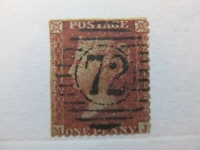GB Great Britain QV 1855 M-J 1d red brown Perf 14 Fine used A5P19