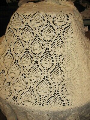 "48"" x 52"" Hand Crocheted Pineapple Design White Acrylic Throw Blanket Tablecloth"