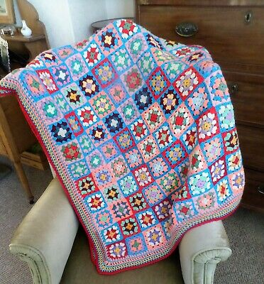 Handmade Traditional Vintage Bright Multi Granny Square Crochet Blanket Throw