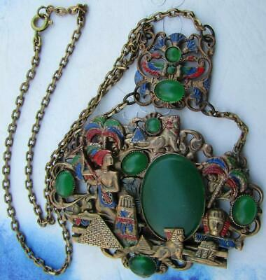 Art Deco Neiger Brothers Egyptian Revival Jade Glass Pendant Necklace Czech