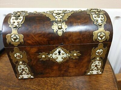 antique burr walnut and brass dome top TEA CADDY BOX