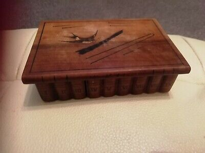 vintage secret opening  wooden box with lid very unusual and rare