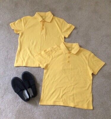 BNWOT - 2 Yellow School T-Shirts With Collars & Black Velcro Plimsolls Size 11