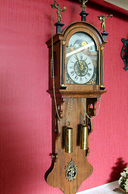 Old Wall Clock Friesian Dutch Clock Vintage Warmink Wuba Moonphase 113 cm Height
