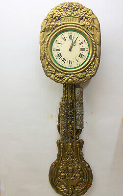 *Old Wall Clock Comtoise Clock in Brass embossed Chime clock *big pendulum