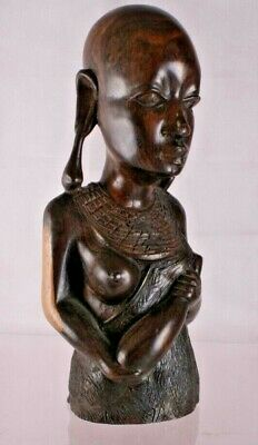 Beautiful Vintage Hand Carved Wooden African Tribal Lady Bust 25 CM -FSKID