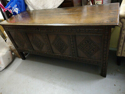 ANTIQUE ENGLISH OAK COFFER, c 1680, Charles ll