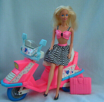 Vintage 80s VERY PRETTY BARBIE + purple label clothes + scooter (this is damaged