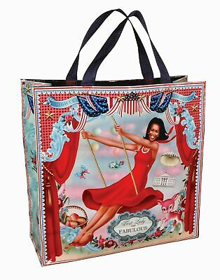 First Lady of Fabulous! Mighty Michelle Obama Shopper Bag Blue Q by Fiona Hewitt