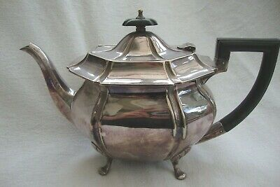 Antique Silver Plate Epns Teapot Standing On Four Raised Feet Good Detail Pot