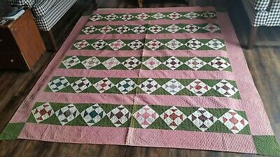 Early Antique Country Quilt*Wonderful Calico Fabrics*1800'S Textile*Aafa