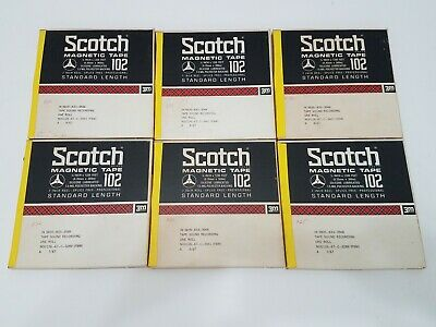 Scotch 102 Magnetic Reel To Reel Audio Tape 1200 Feet - LOT of 6 - Pre-recorded
