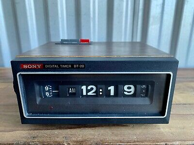 Vintage Mid Century Sony DT-20 Digital Clock Rolling Numbers & Timer Working