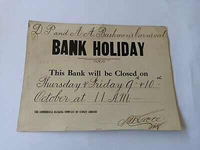Antique Sign Bank Holiday Bushmens Carnival Commercial Banking Company Of Sydney