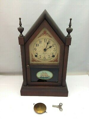 Antique Sessions Steeple Mantle Ships Clock