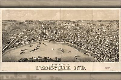 Poster, Many Sizes; Panoramic Map Evansville, Indiana 1880