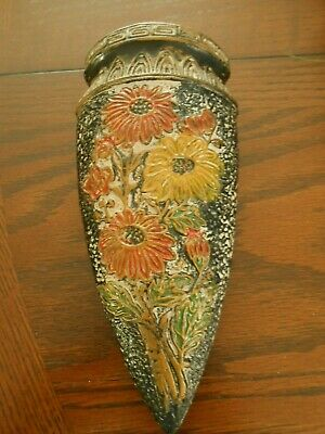 Vintage Black Tokanabe Ware Wall Pocket Vase Cone Shaped Made in Japan 7 3/4 in.