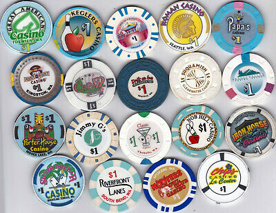 19 Different $1 Washington State Casino Chips-Various Locations-Both Old & New