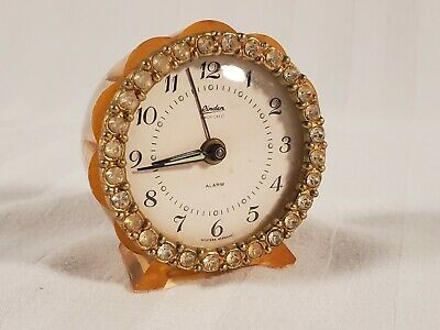 """Small  2 3/4"""" Vintage Linden Black Forest Pink Alarm Clock With Glass Diamonds"""
