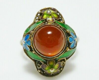Chinese Export Sterling Silver Enamel Carnelian Cabochon Vintage Ring Band