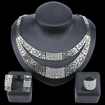 Women Silver Plated Crystal Wedding Party Necklace Earring Ring Jewelry Set