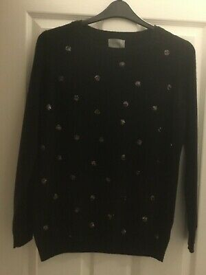 Black sequinned 100% cashmere oversized jumper Pure fit size 14/16 BNWOT
