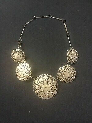 Antique Old Victorian Edwardian Sterling Silver Chain Necklace