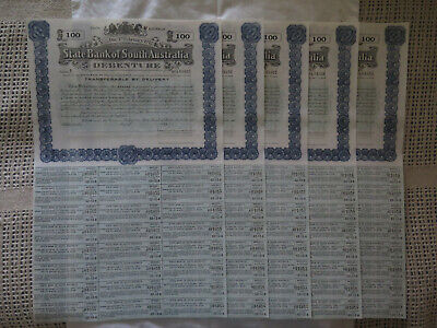 1942 STATE BANK of SOUTH AUSTRALIA 5 x 100 POUND DEBENTURES SCRIPS CONSECUTIVE