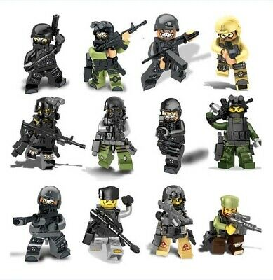 12pcs CUSTOM Army Soldier Minifigures and Weapons Lego USA SELLER