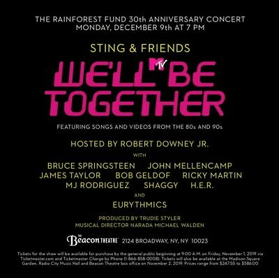 Concert For The Rainforest Fund Ny Sting/Springsteen Orch3 Row M Beacon Theatre