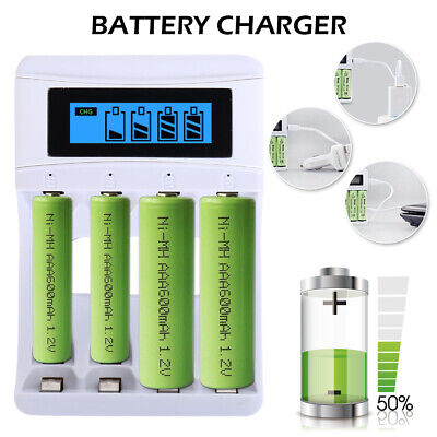 USB Smart Battery Charger LCD Display 4 /8 Slots Fr AAA NiCd NiMh Rechargeable