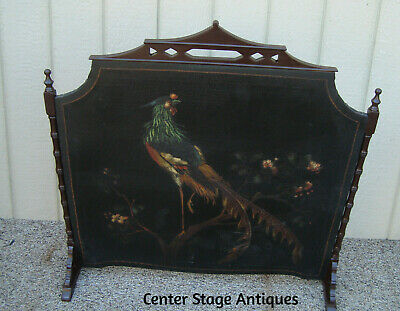 59109 Antique Oriental HAND Painted  Firescreen