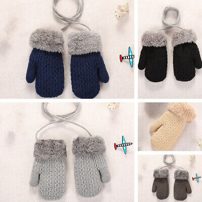 1pair Winter Solid Color Knitted Plush Lanyard Gloves Thick Warm Kids Mittens