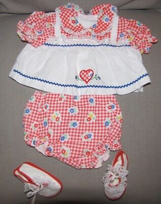 Vintage Cotton Candy Baby Girl Outfit Clothes Dress 3 Piece Set 0-3-6