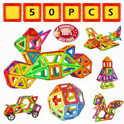 50PCS Magnetic Toy Building Blocks Set 3D DIY Tiles Magic Construction Gift Kids