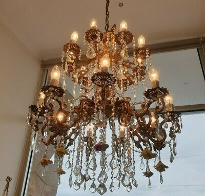 Vintage Brass and Crystal Ceiling Chandelier with Ceramic Rosettes