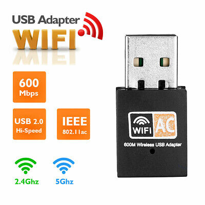 600Mbps 2.4-5ghz USB Dual Band Wireless Adapter WiFi Dongle 802.11 AC Laptop UK