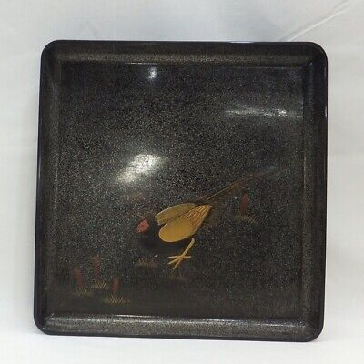 E536: Japanese square tray of old lacquer ware with wonderful MAKIE of pheasant