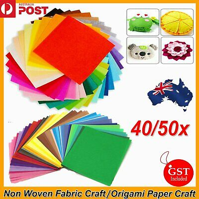 40/50x Square Non Woven Felt Fabric Sheets Origami Paper Craft For Kids DIY Art